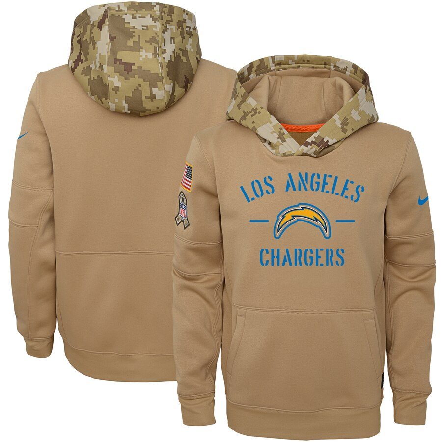 Youth Los Angeles Chargers Nike Khaki 2019 Salute to Service Therma Pullover Hoodie