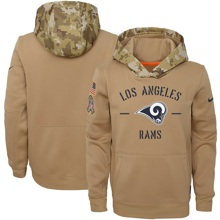 Youth Los Angeles Rams Nike Khaki 2019 Salute to Service Therma Pullover Hoodie