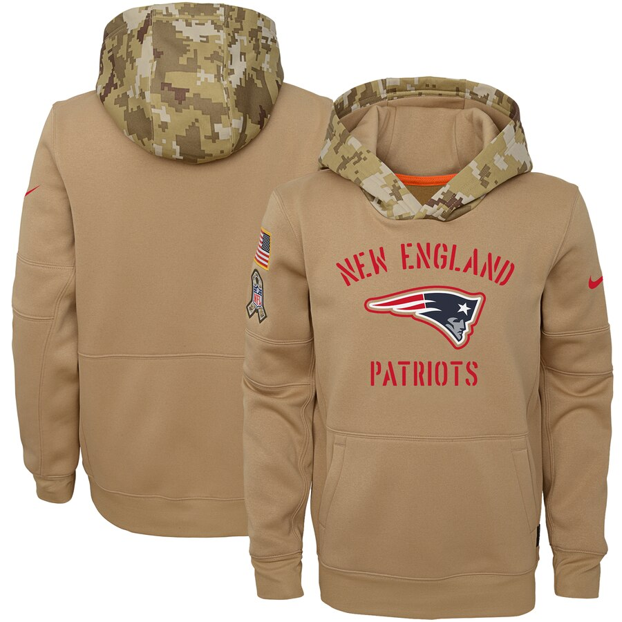 Youth New England Patriots Nike Khaki 2019 Salute to Service Therma Pullover Hoodie