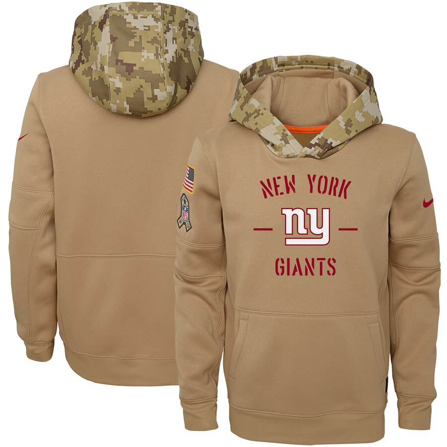 Youth New York Giants Nike Khaki 2019 Salute to Service Therma Pullover Hoodie