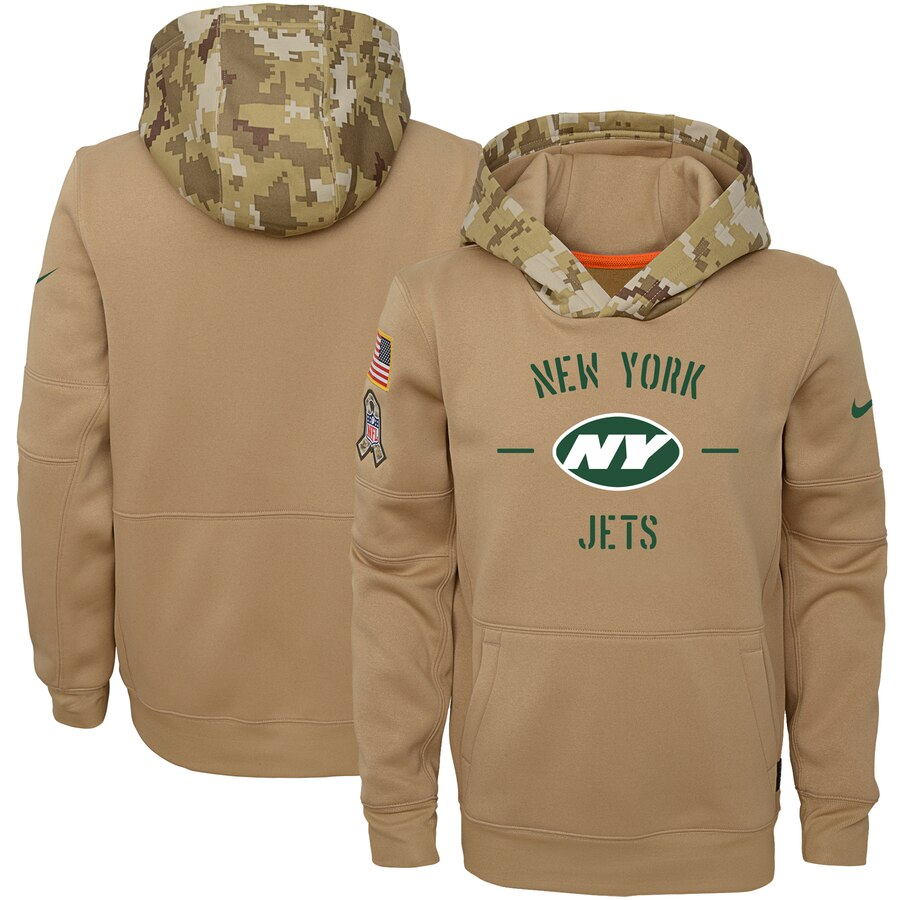 Youth New York Jets Nike Khaki 2019 Salute to Service Therma Pullover Hoodie
