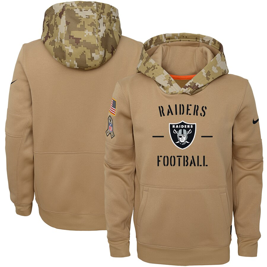 Youth Oakland Raiders Nike Khaki 2019 Salute to Service Therma Pullover Hoodie