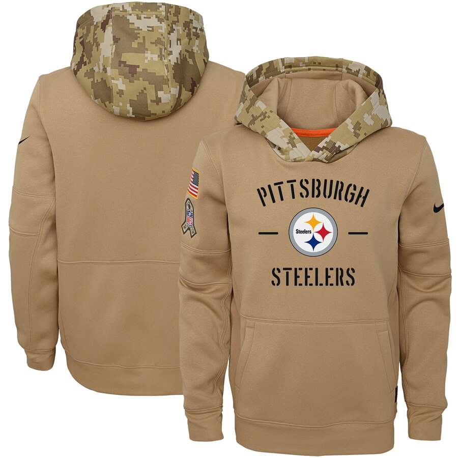 Youth Pittsburgh Steelers Nike Khaki 2019 Salute to Service Therma Pullover Hoodie