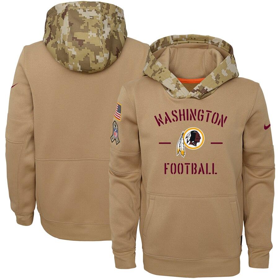Youth Washington Redskins Nike Khaki 2019 Salute to Service Therma Pullover Hoodie