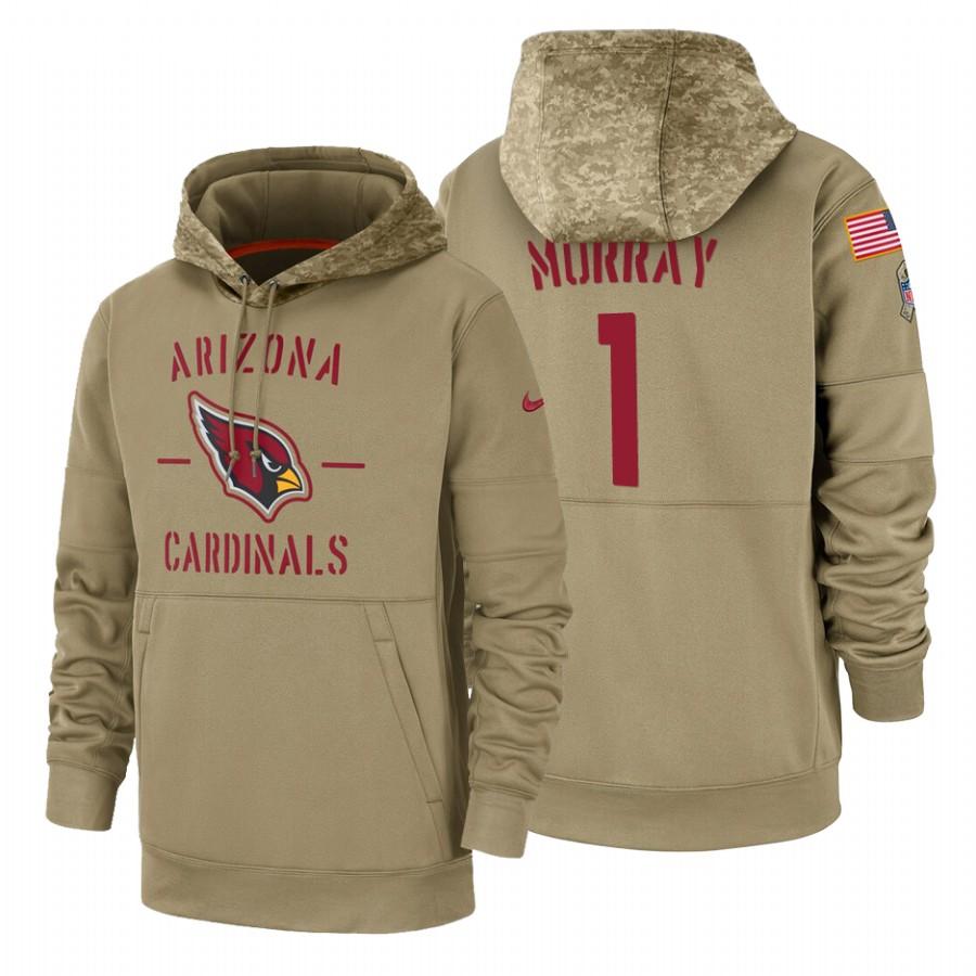 Arizona Cardinals #1 Kyler Murray Nike Tan 2019 Salute To Service Name & Number Sideline Therma Pullover Hoodie