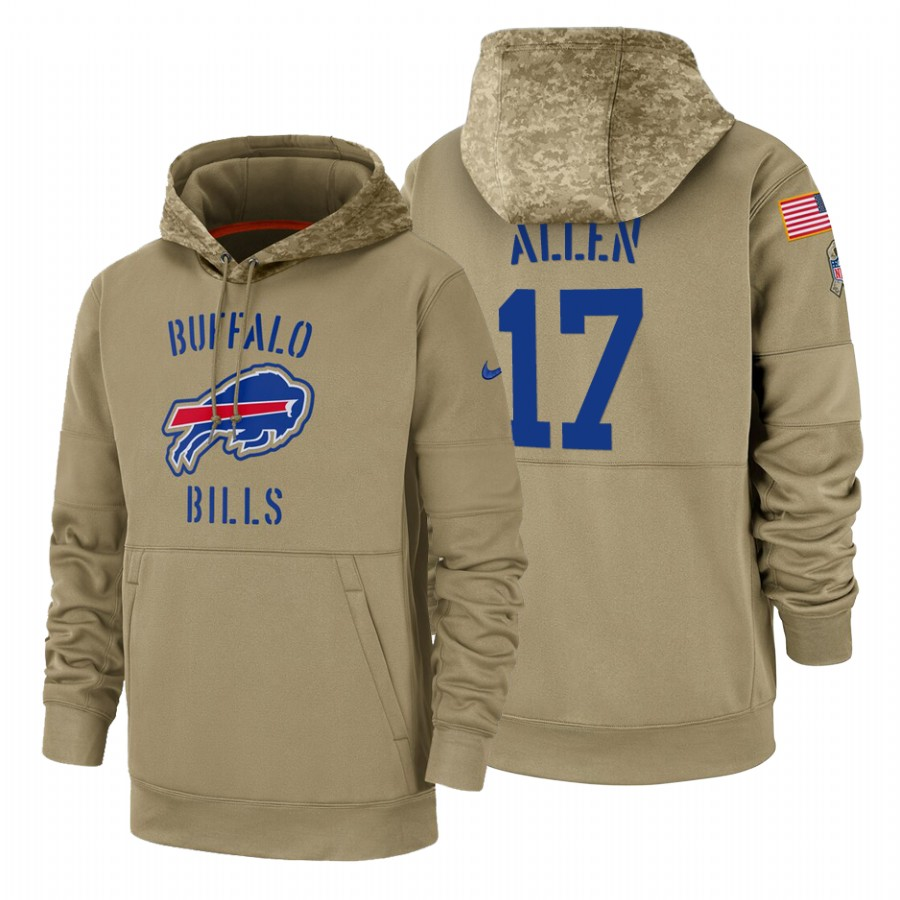 Buffalo Bills #17 Josh Allen Nike Tan 2019 Salute To Service Name & Number Sideline Therma Pullover Hoodie