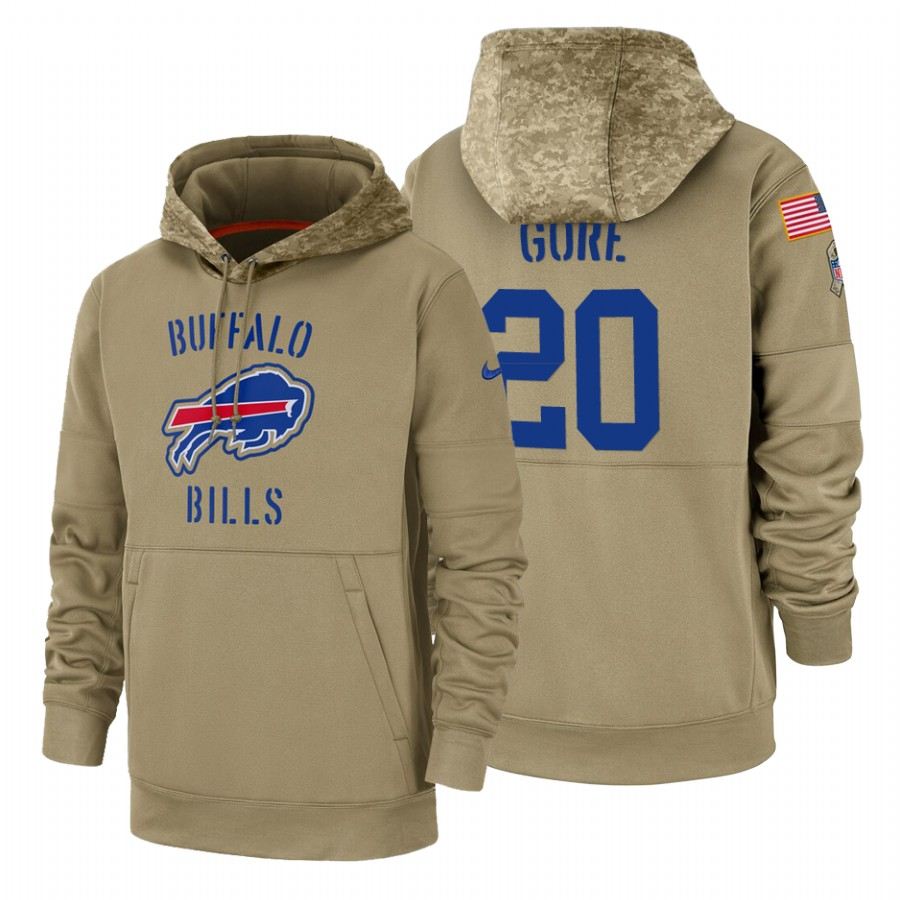 Buffalo Bills #20 Frank Gore Nike Tan 2019 Salute To Service Name & Number Sideline Therma Pullover Hoodie