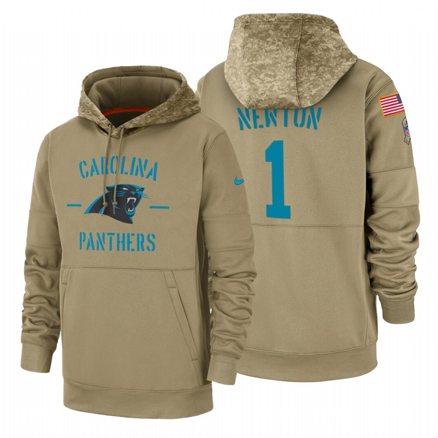 Carolina Panthers #1 Cam Newton Nike Tan 2019 Salute To Service Name & Number Sideline Therma Pullover Hoodie