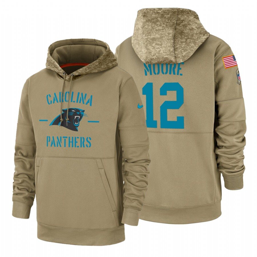 Carolina Panthers #12 D.J. Moore Nike Tan 2019 Salute To Service Name & Number Sideline Therma Pullover Hoodie