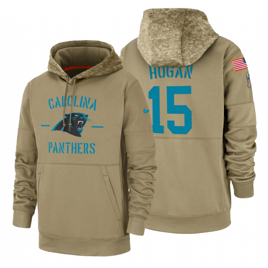 Carolina Panthers #15 Chris Hogan Nike Tan 2019 Salute To Service Name & Number Sideline Therma Pullover Hoodie