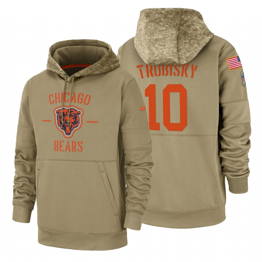 Chicago Bears #10 Mitchell Trubisky Nike Tan 2019 Salute To Service Name & Number Sideline Therma Pullover Hoodie