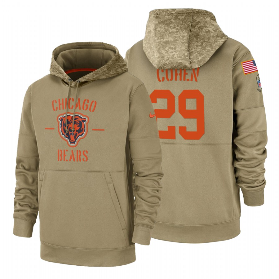 Chicago Bears #29 Tarik Cohen Nike Tan 2019 Salute To Service Name & Number Sideline Therma Pullover Hoodie