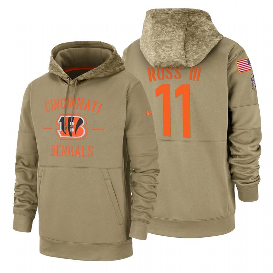 Cincinnati Bengals #11 John Ross III Nike Tan 2019 Salute To Service Name & Number Sideline Therma Pullover Hoodie