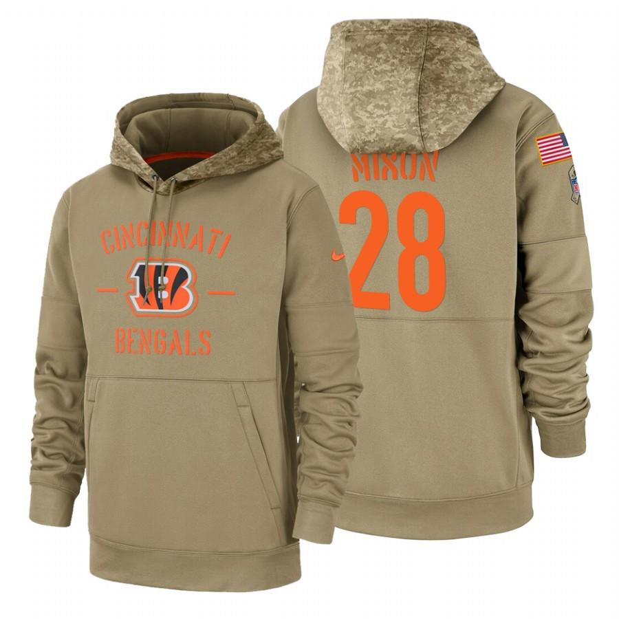 Cincinnati Bengals #28 Joe Mixon Nike Tan 2019 Salute To Service Name & Number Sideline Therma Pullover Hoodie
