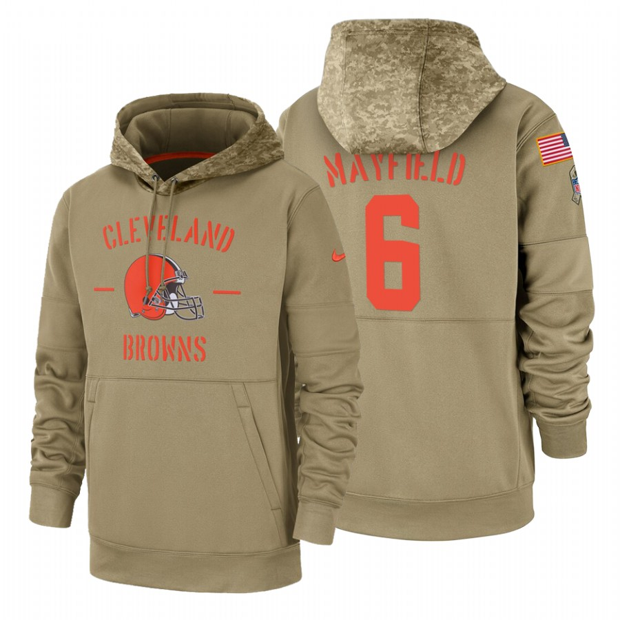 Cleveland Browns #6 Baker Mayfield Nike Tan 2019 Salute To Service Name & Number Sideline Therma Pullover Hoodie