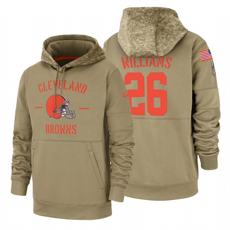 Cleveland Browns #26 Greedy Williams Nike Tan 2019 Salute To Service Name & Number Sideline Therma Pullover Hoodie