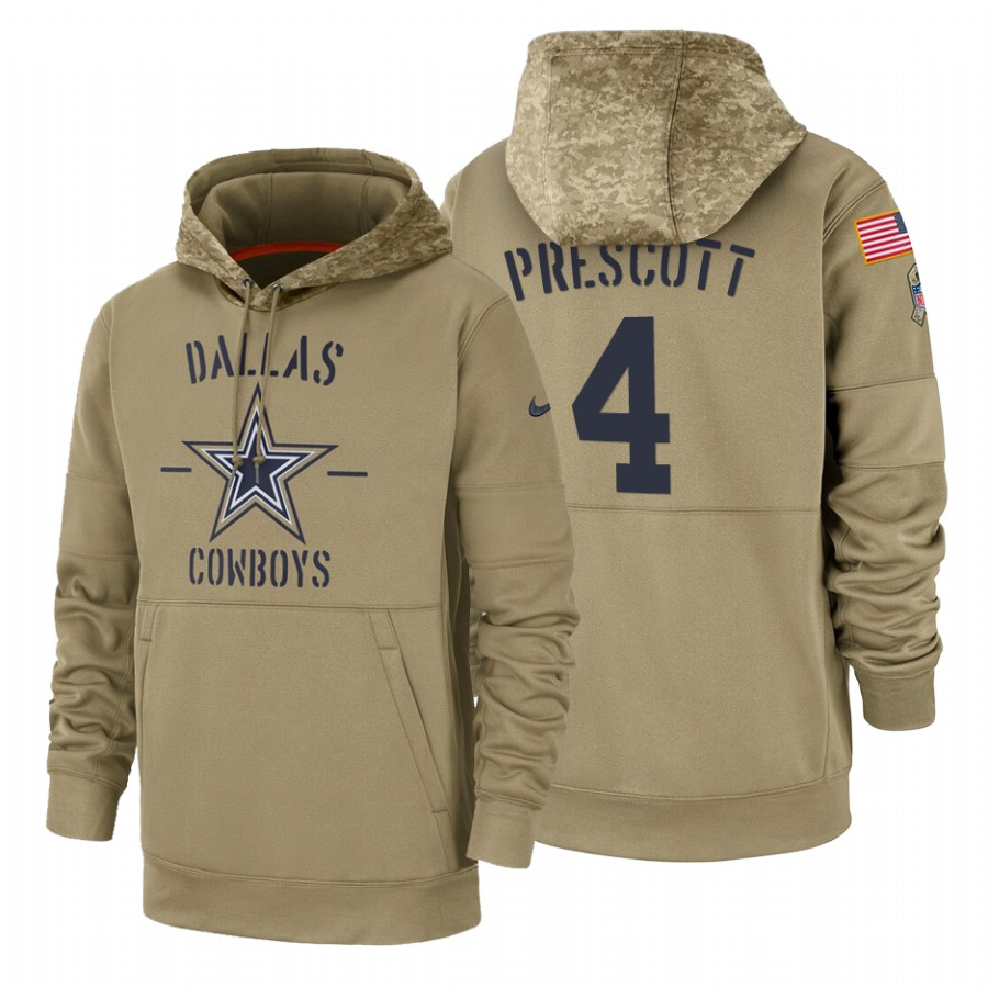 Dallas Cowboys #4 Dak Prescott Nike Tan 2019 Salute To Service Name & Number Sideline Therma Pullover Hoodie