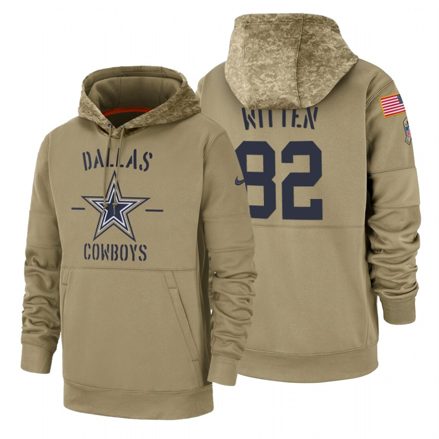 Dallas Cowboys #82 Jason Witten Nike Tan 2019 Salute To Service Name & Number Sideline Therma Pullover Hoodie