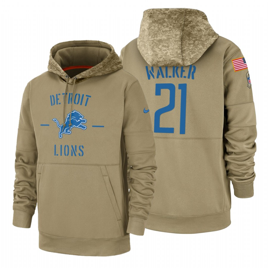 Detroit Lions #21 Tracy Walker Nike Tan 2019 Salute To Service Name & Number Sideline Therma Pullover Hoodie