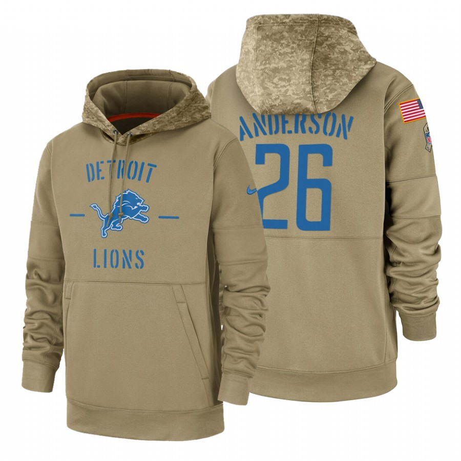 Detroit Lions #26 C.J. Anderson Nike Tan 2019 Salute To Service Name & Number Sideline Therma Pullover Hoodie