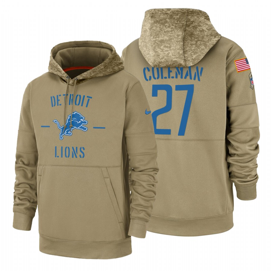 Detroit Lions #27 Justin Coleman Nike Tan 2019 Salute To Service Name & Number Sideline Therma Pullover Hoodie