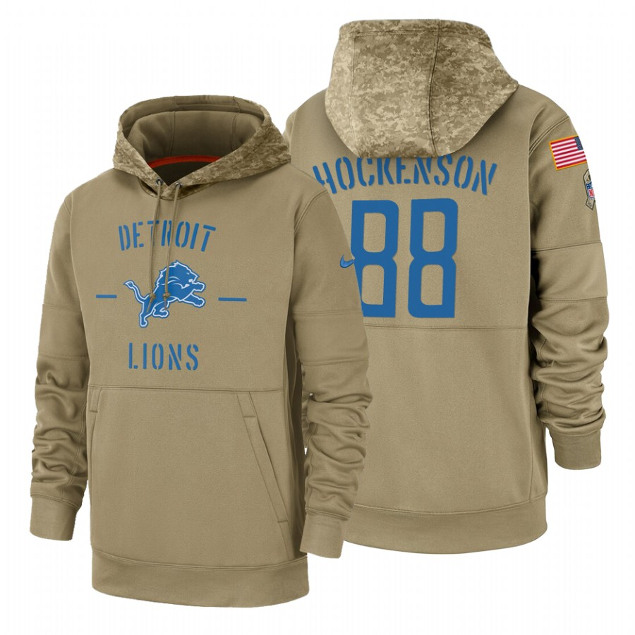 Detroit Lions #88 T.J. Hockenson Nike Tan 2019 Salute To Service Name & Number Sideline Therma Pullover Hoodie
