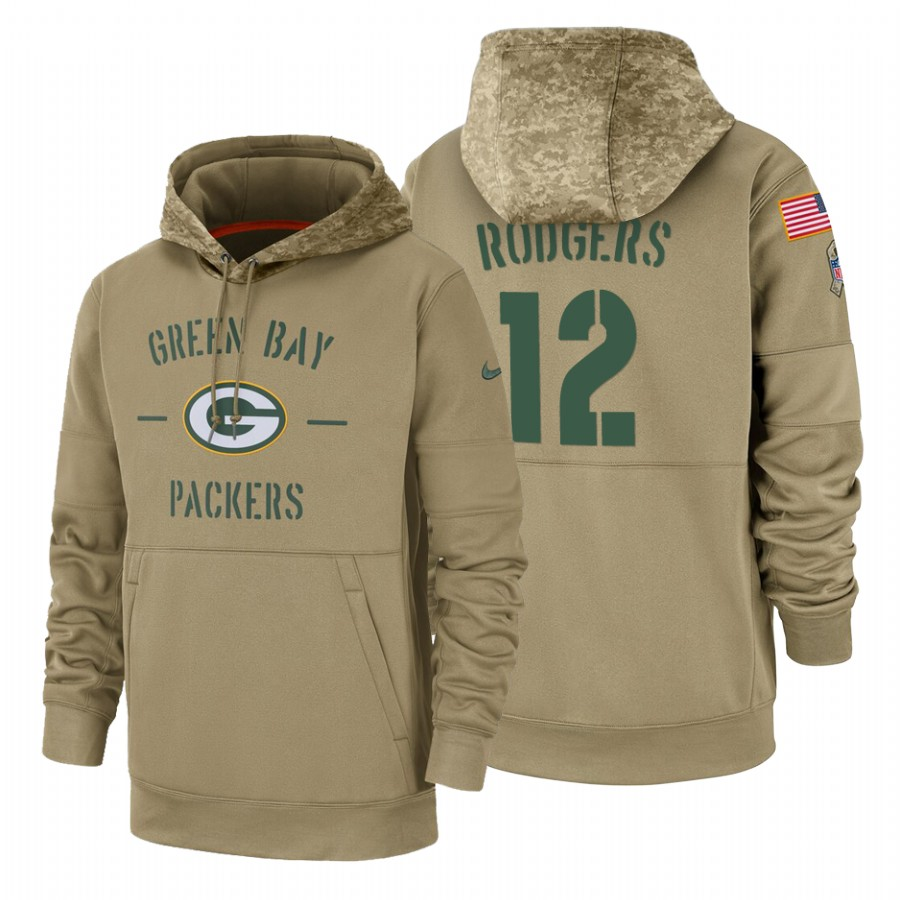 Green Bay Packers #12 Aaron Rodgers Nike Tan 2019 Salute To Service Name & Number Sideline Therma Pullover Hoodie