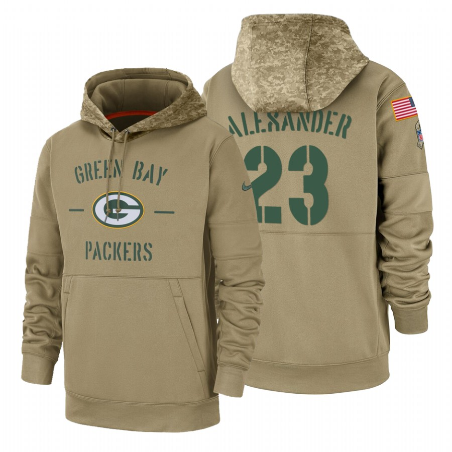 Green Bay Packers #23 Jaire Alexander Nike Tan 2019 Salute To Service Name & Number Sideline Therma Pullover Hoodie