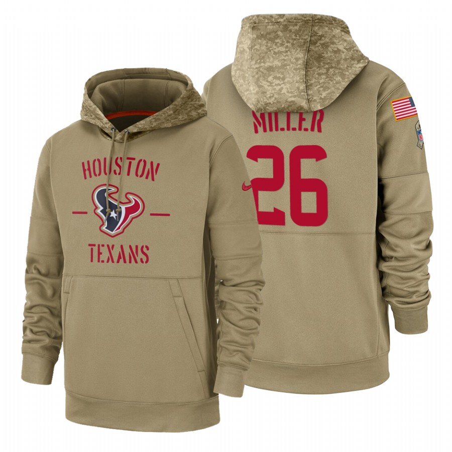 Houston Texans #26 Lamar Miller Nike Tan 2019 Salute To Service Name & Number Sideline Therma Pullover Hoodie