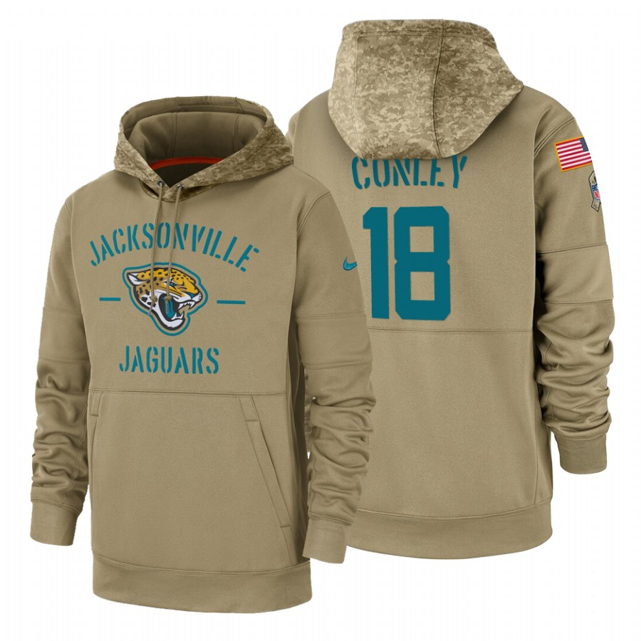 Jacksonville Jaguars #18 Chris Conley Nike Tan 2019 Salute To Service Name & Number Sideline Therma Pullover Hoodie