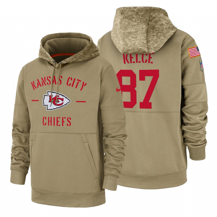 Kansas City Chiefs #87 Travis Kelce Nike Tan 2019 Salute To Service Name & Number Sideline Therma Pullover Hoodie