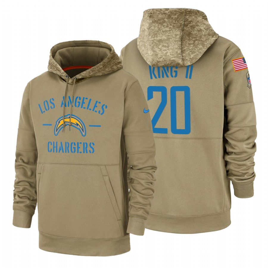Los Angeles Chargers #20 Desmond King Nike Tan 2019 Salute To Service Name & Number Sideline Therma Pullover Hoodie
