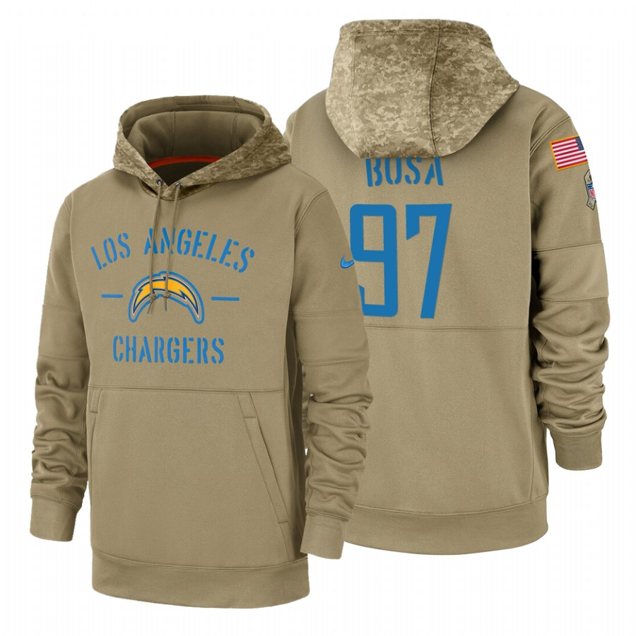 Los Angeles Chargers #97 Joey Bosa Nike Tan 2019 Salute To Service Name & Number Sideline Therma Pullover Hoodie