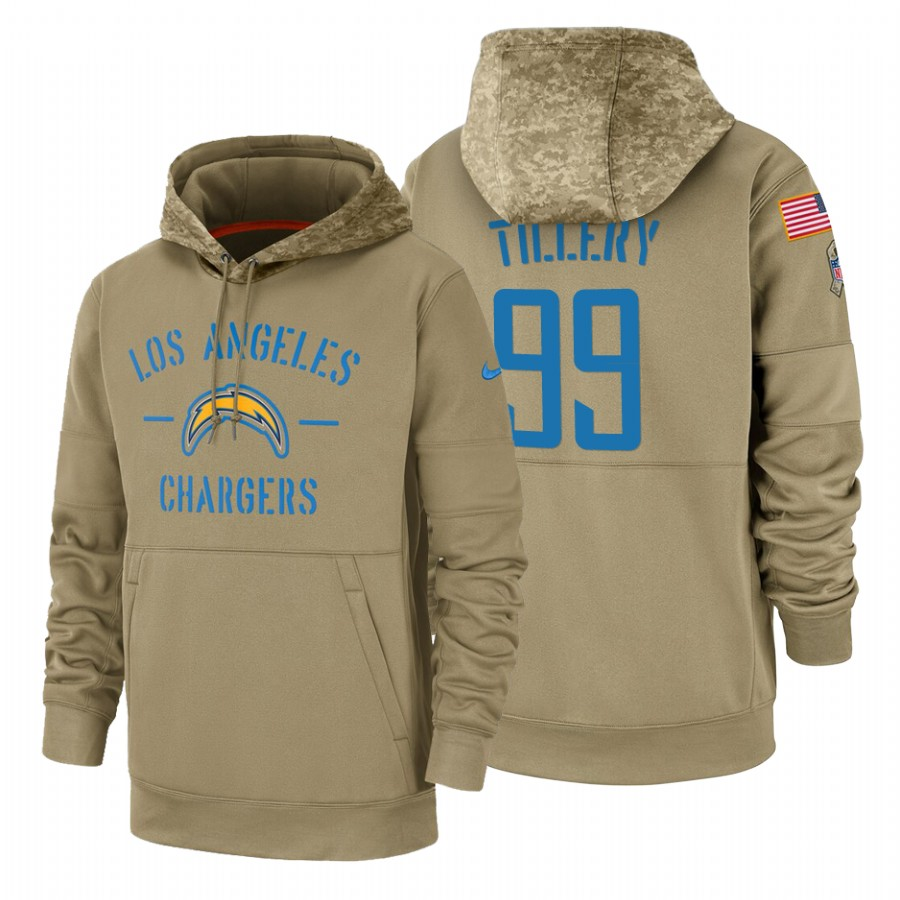 Los Angeles Chargers #99 Jerry Tillery Nike Tan 2019 Salute To Service Name & Number Sideline Therma Pullover Hoodie
