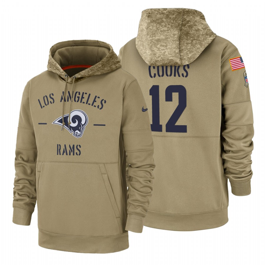 Los Angeles Rams #12 Brandin Cooks Nike Tan 2019 Salute To Service Name & Number Sideline Therma Pullover Hoodie