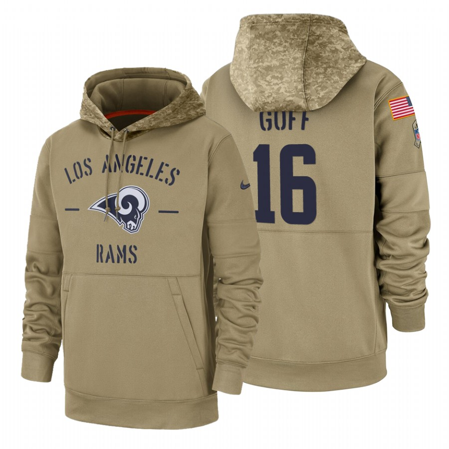 Los Angeles Rams #16 Jared Goff Nike Tan 2019 Salute To Service Name & Number Sideline Therma Pullover Hoodie