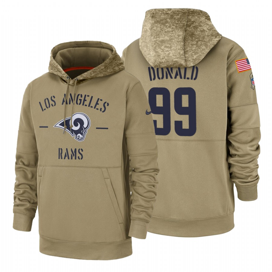 Los Angeles Rams #99 Aaron Donald Nike Tan 2019 Salute To Service Name & Number Sideline Therma Pullover Hoodie