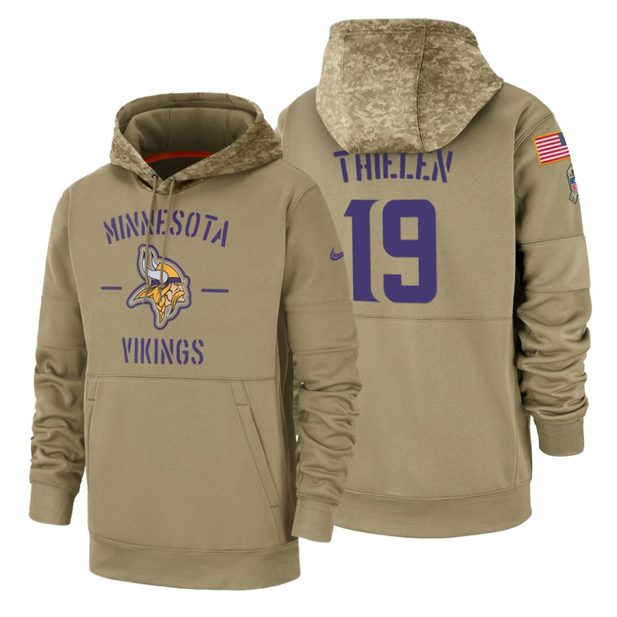 Minnesota Vikings #19 Adam Thielen Nike Tan 2019 Salute To Service Name & Number Sideline Therma Pullover Hoodie