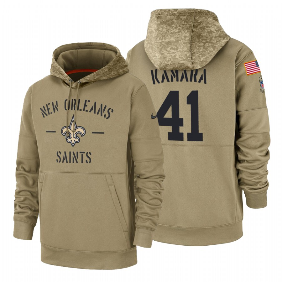 New Orleans Saints #41 Alvin Kamara Nike Tan 2019 Salute To Service Name & Number Sideline Therma Pullover Hoodie