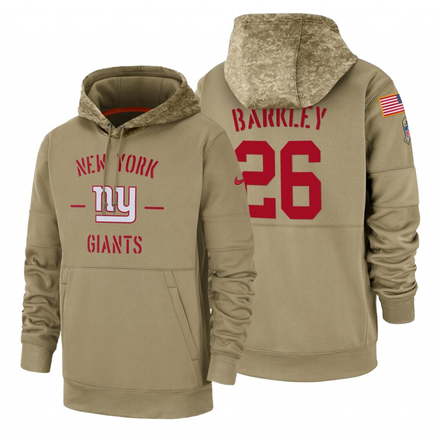 New York Giants #26 Saquon Barkley Nike Tan 2019 Salute To Service Name & Number Sideline Therma Pullover Hoodie
