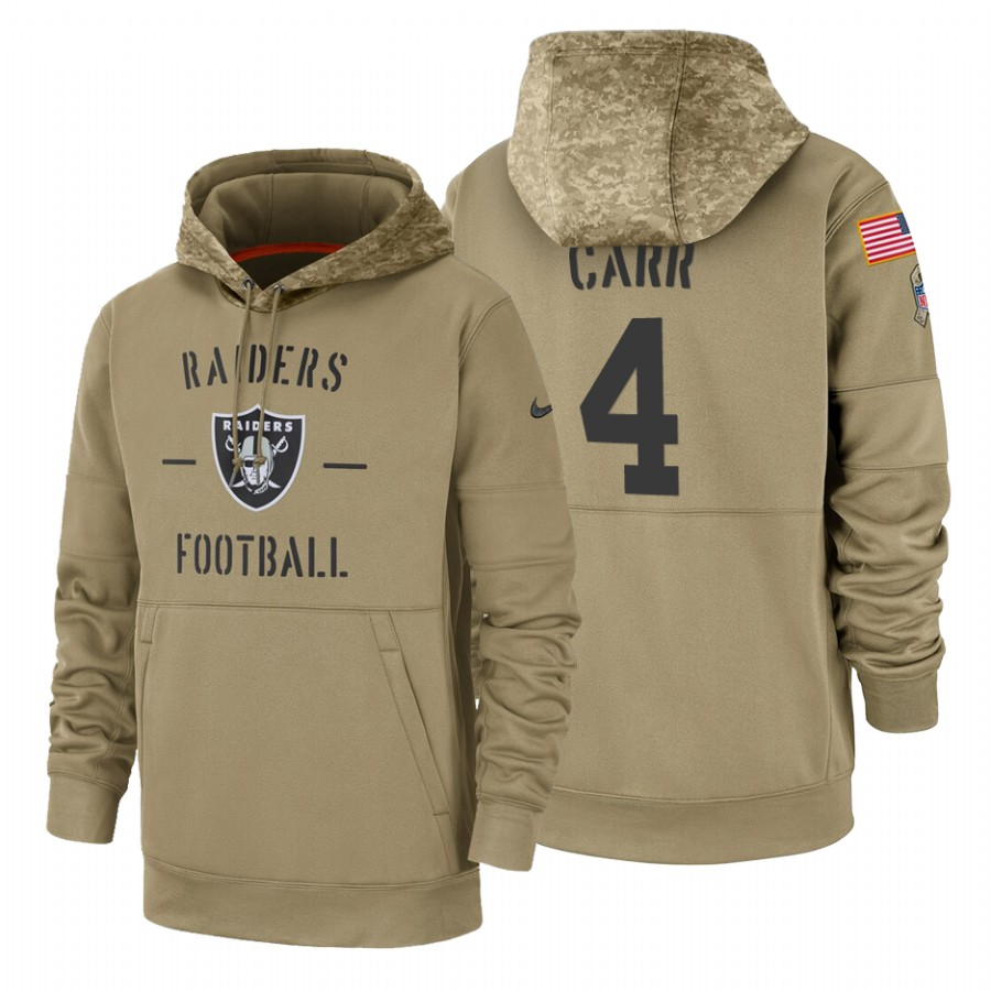 Oakland Raiders #4 Derek Carr Nike Tan 2019 Salute To Service Name & Number Sideline Therma Pullover Hoodie