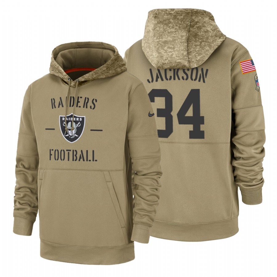 Oakland Raiders #34 Bo Jackson Nike Tan 2019 Salute To Service Name & Number Sideline Therma Pullover Hoodie