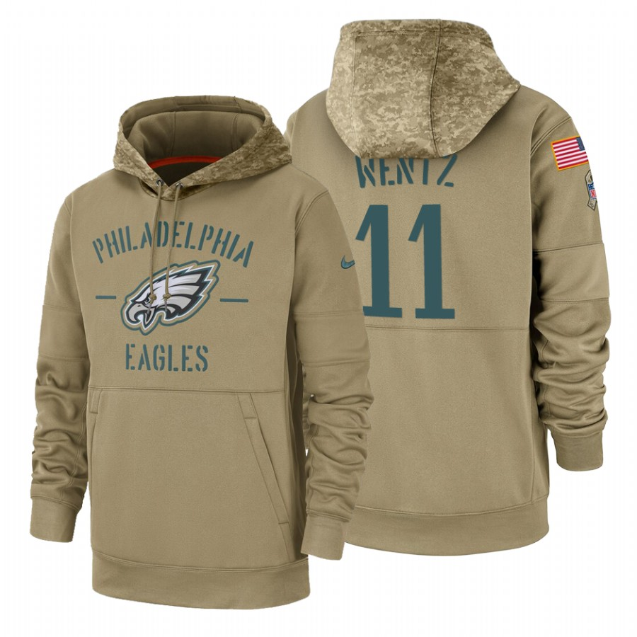 Philadelphia Eagles #11 Carson Wentz Nike Tan 2019 Salute To Service Name & Number Sideline Therma Pullover Hoodie