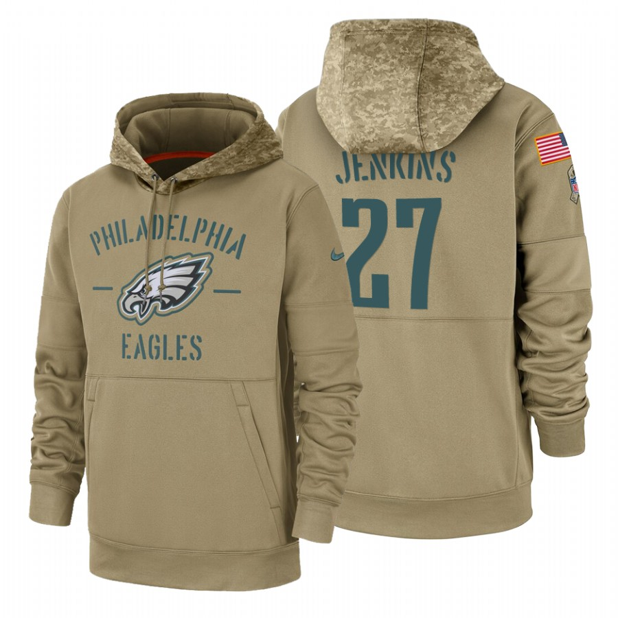 Philadelphia Eagles #27 Malcolm Jenkins Nike Tan 2019 Salute To Service Name & Number Sideline Therma Pullover Hoodie