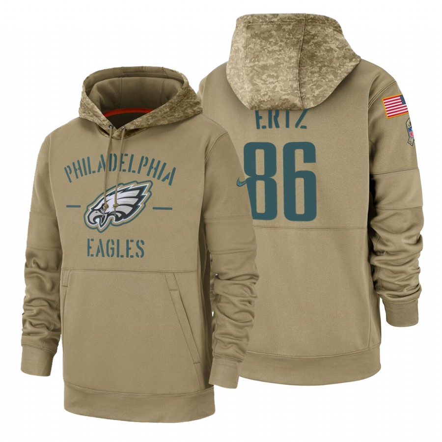 Philadelphia Eagles #86 Zach Ertz Nike Tan 2019 Salute To Service Name & Number Sideline Therma Pullover Hoodie