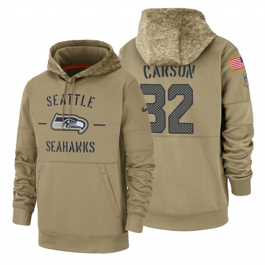 Seattle Seahawks #32 Chris Carson Nike Tan 2019 Salute To Service Name & Number Sideline Therma Pullover Hoodie