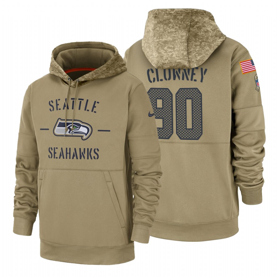 Seattle Seahawks #90 Jadeveon Clowney Nike Tan 2019 Salute To Service Name & Number Sideline Therma Pullover Hoodie