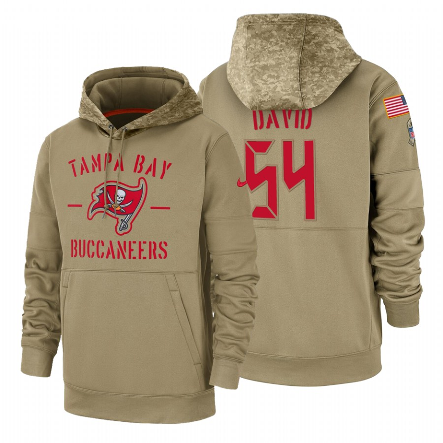 Tampa Bay Buccaneers #54 Lavonte David Nike Tan 2019 Salute To Service Name & Number Sideline Therma Pullover Hoodie