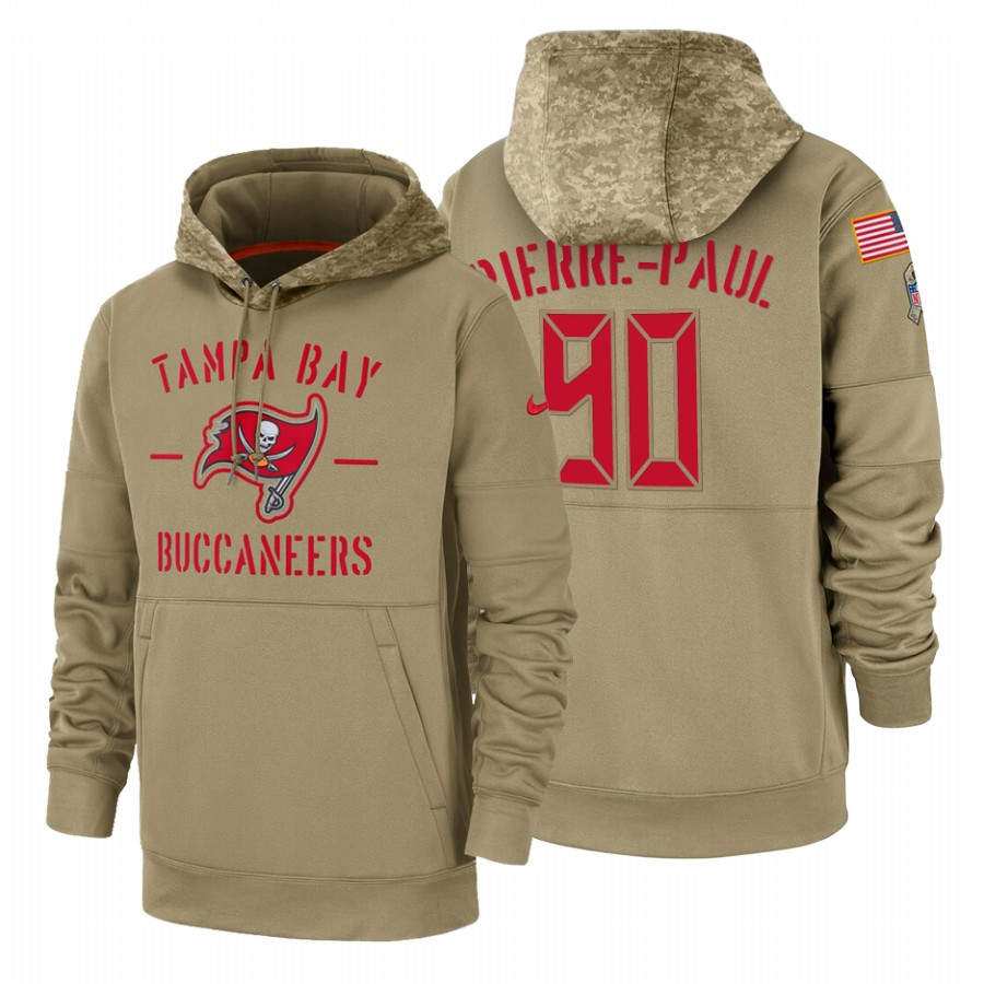 Tampa Bay Buccaneers #90 Jason Pierre-Paul Nike Tan 2019 Salute To Service Name & Number Sideline Therma Pullover Hoodie