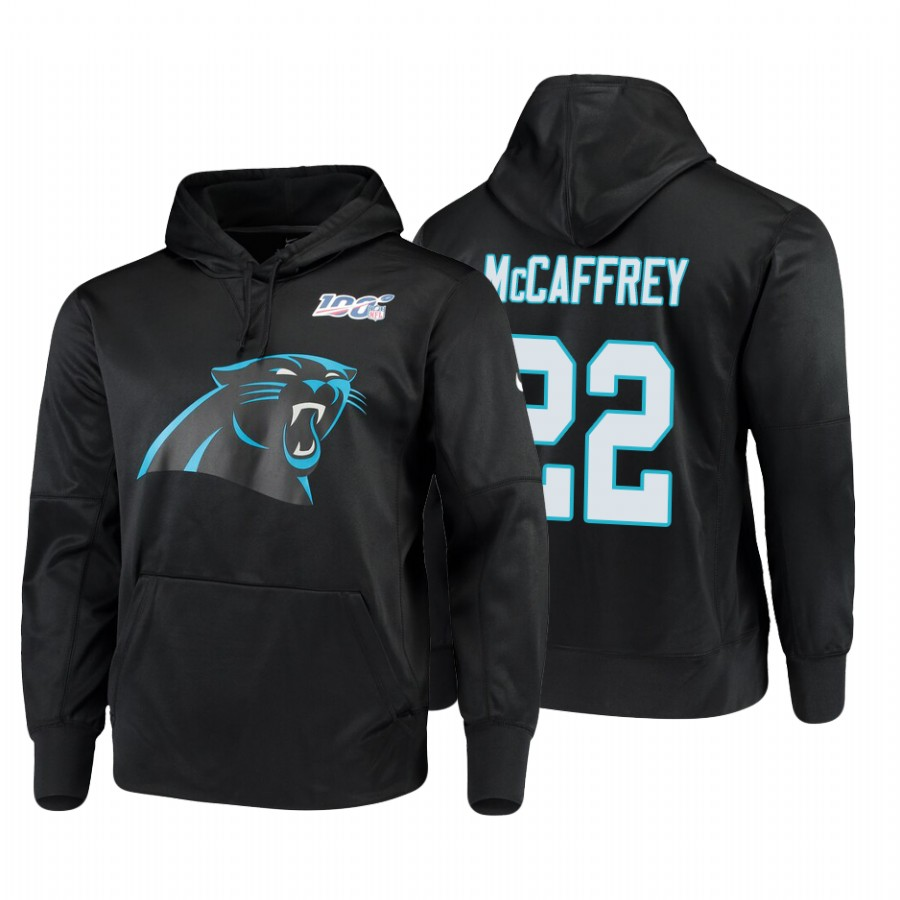 Carolina Panthers #22 Christian Mccaffrey Nike NFL 100 Primary Logo Circuit Name & Number Pullover Hoodie Black